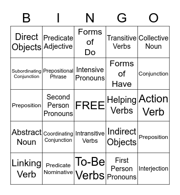 Parts of Speech Bingo Card