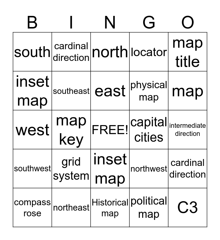 Features of A Map/ Type of Maps Bingo Card