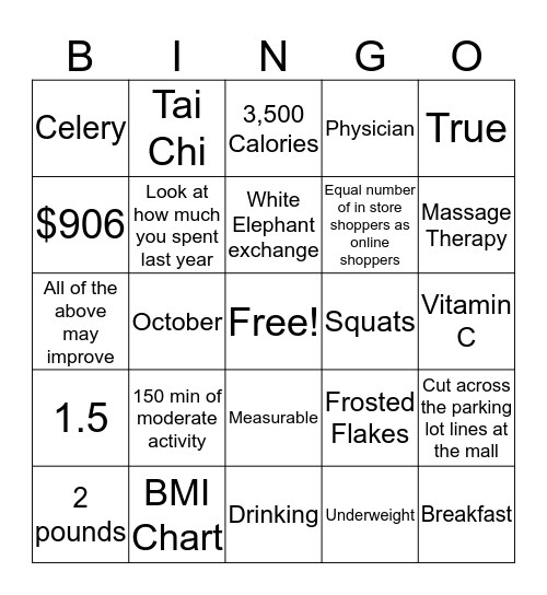 Holiday Health Bingo Card