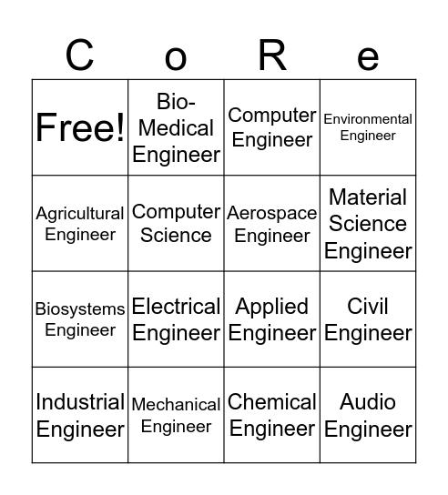 Engineering Professions Bingo Card