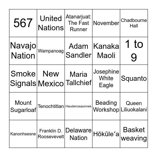 Native American Heritage Month Bingo Card