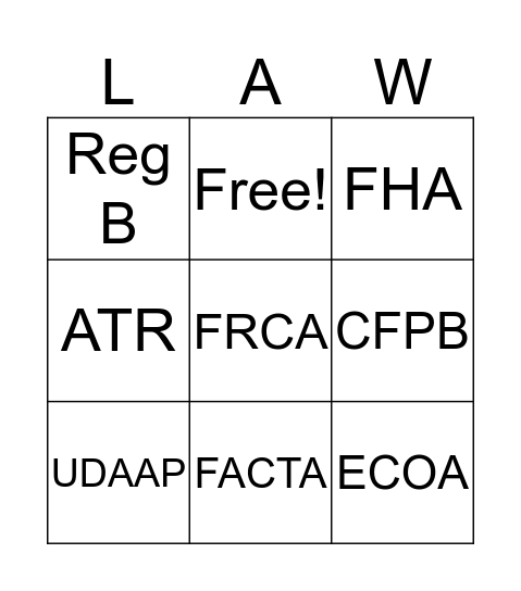 All the Laws Bingo Card