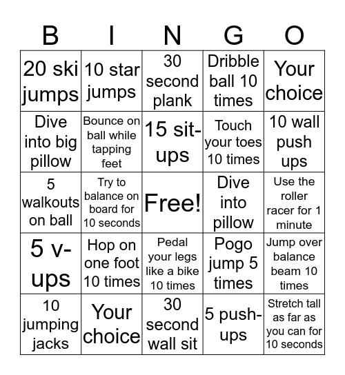 Activity Bingo Card