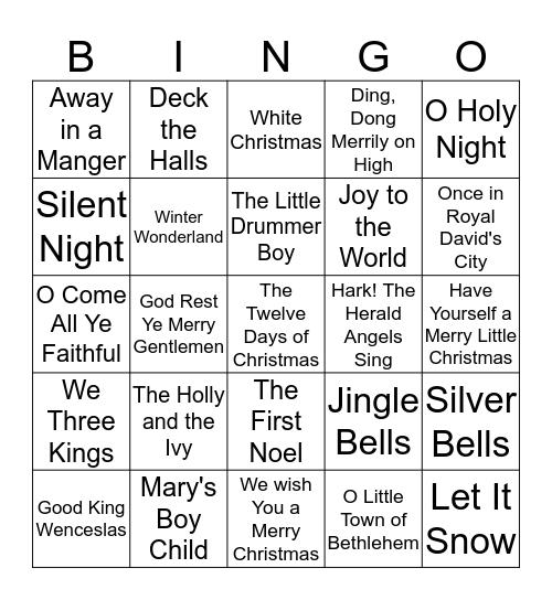 Christmas Carols Bingo Card