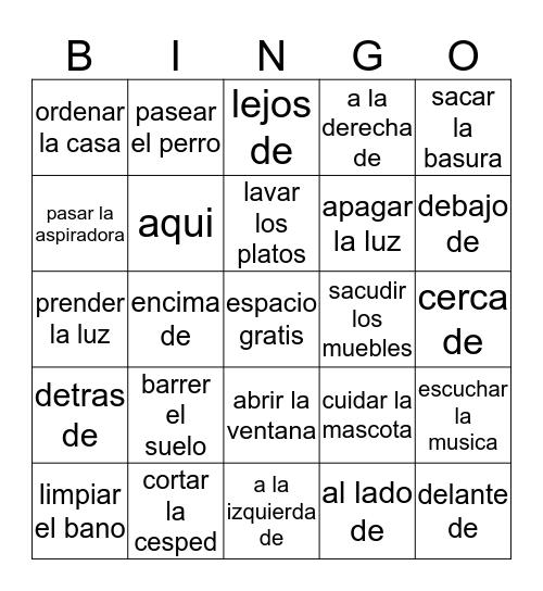 Household Chores and Prepositional Phrases Bingo Card