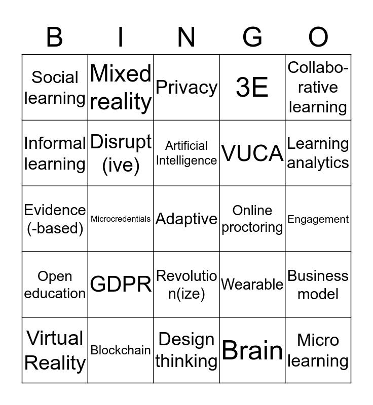 Online Educa Bingo Card