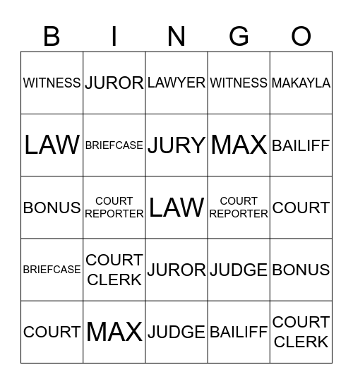 L E G A L_____L I N GO Bingo Card