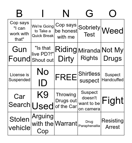 Live PD Bingo Card
