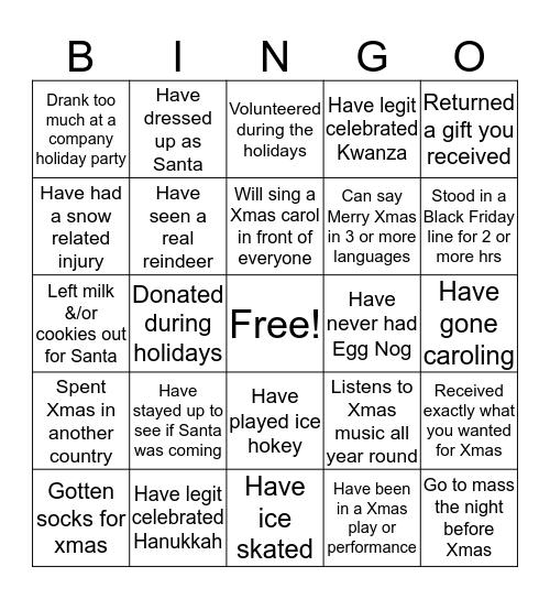 Holiday Experience Bingo Card