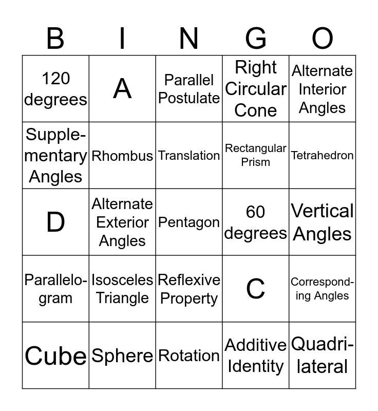 Math 4350 Review Bingo Card