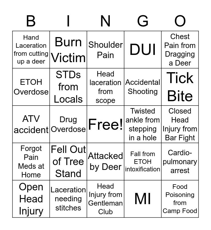Deer Camp Bingo Card