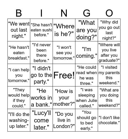 Direct Speech vs Reported Speech Bingo Card