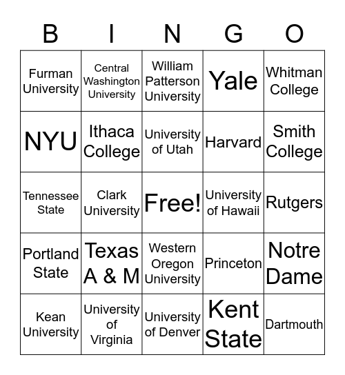 Out-of-State College Bingo Card