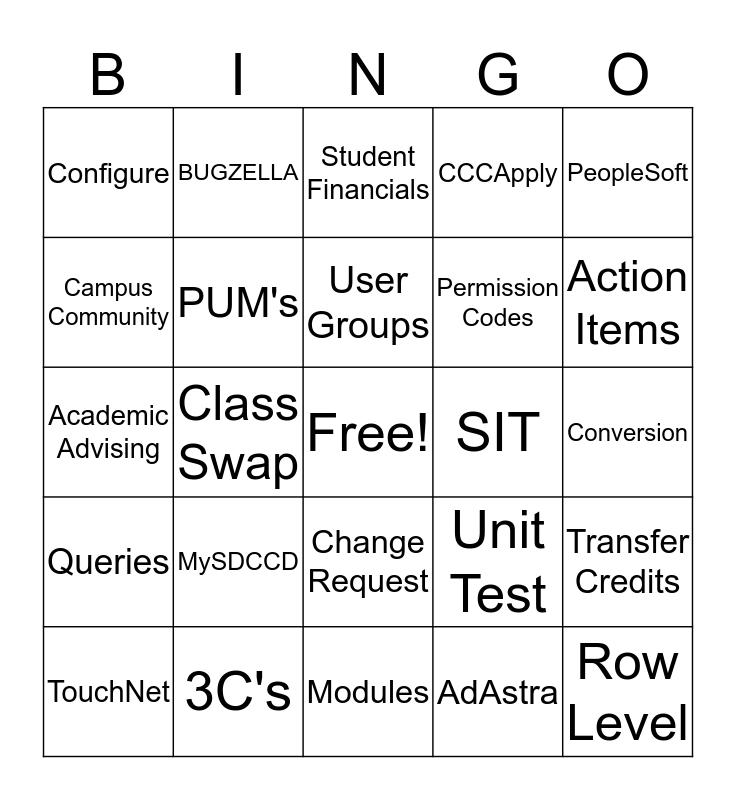 Campus Solutions Implementation Bingo Card