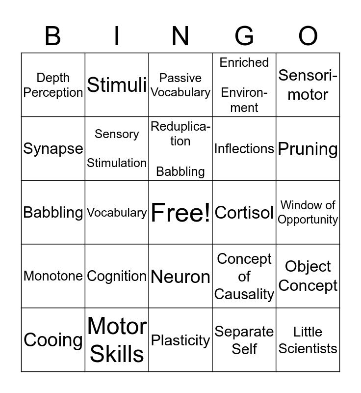 Infants - Cognitive Development Bingo Card