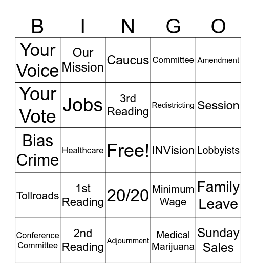 Session Bingo Card