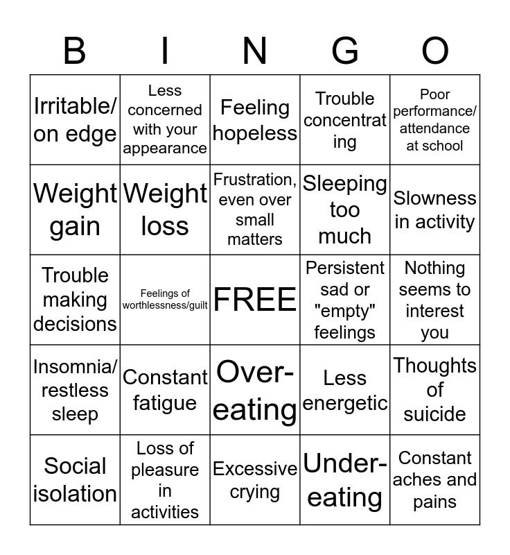 Symptoms of Depression Bingo Card