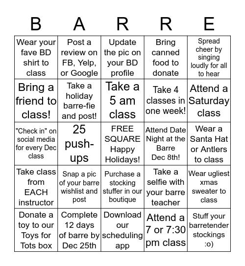 Barre Defined Holiday Bingo Challenge Bingo Card