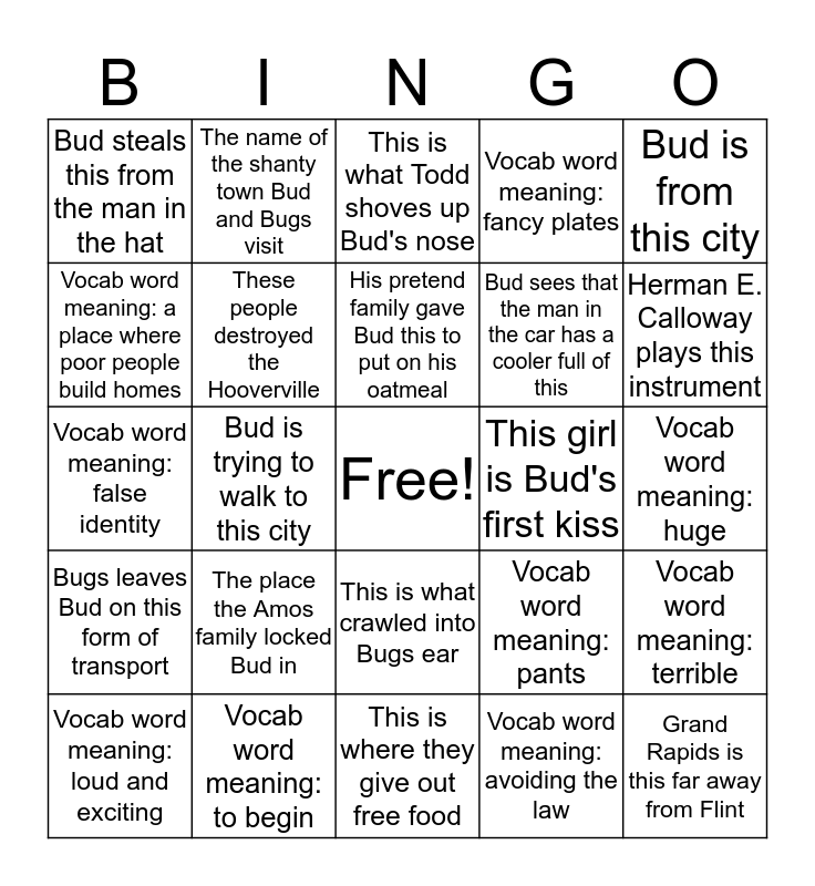 Bud Not Bingo Card