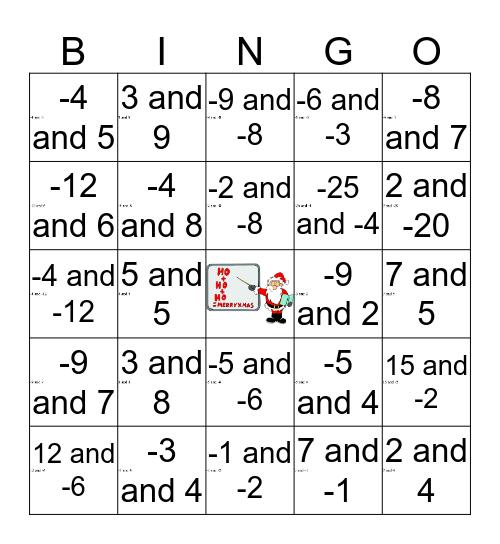 That's Sum Product Bingo Card