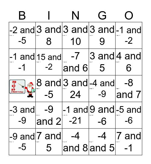 That's Sum Product 3 Bingo Card