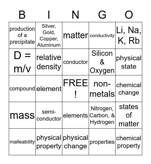 MATTER and CHEMISTRY Bingo Card