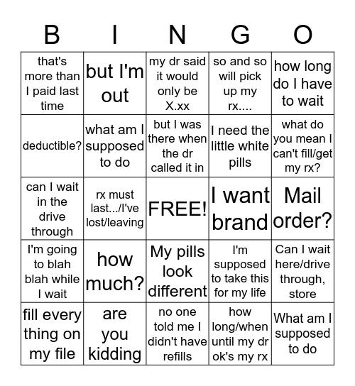 shit they say Bingo Card