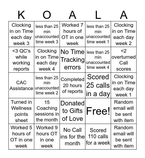 December Call Scoring Bingo Card