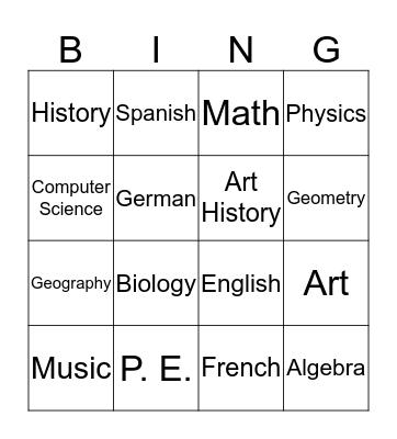 Les matières Bingo Card