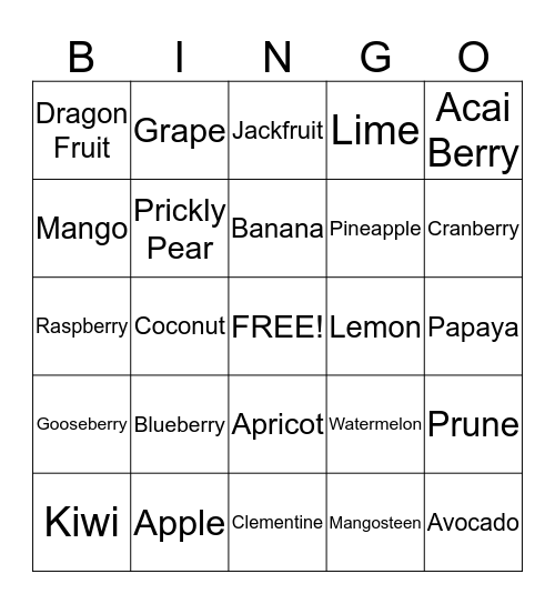 Fruit Bingo Card