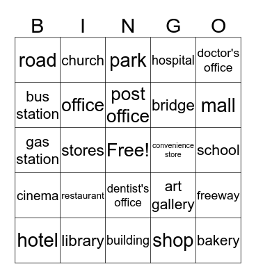 Community Buildings Bingo Card