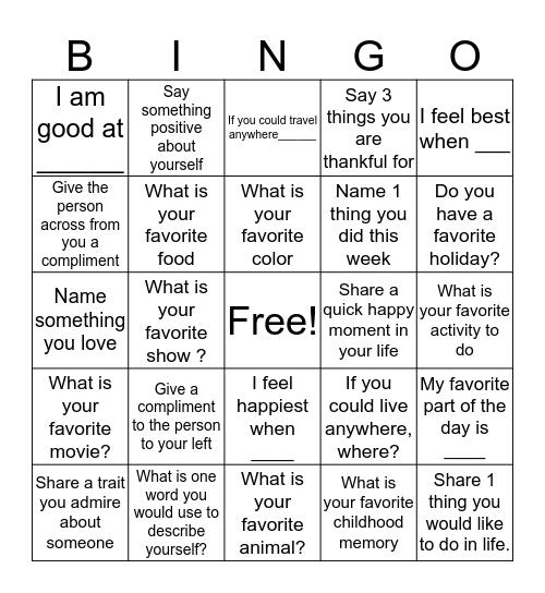 Socializing Bingo Card