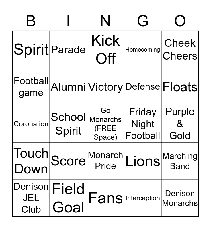 Monarch Homecoming 2013 Bingo Card