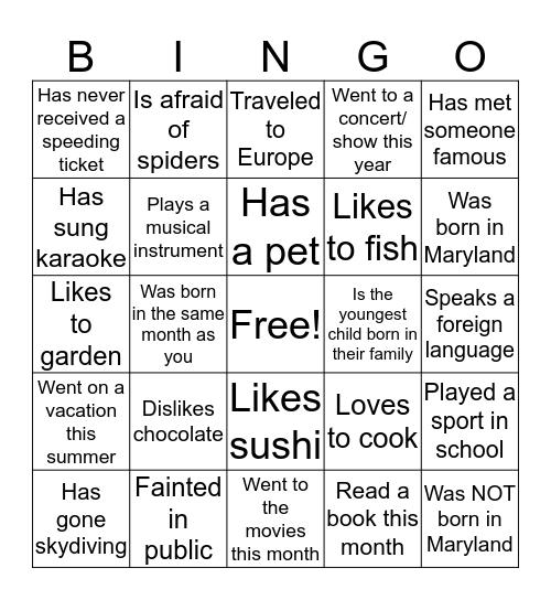 Find Someone Who... Bingo Card