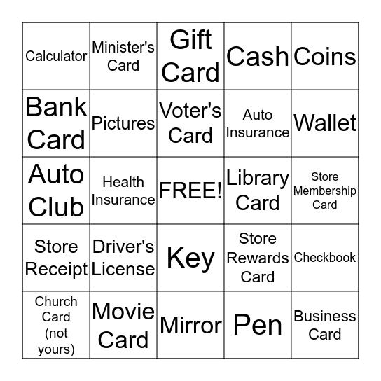 What's In Your Wallet? Bingo Card
