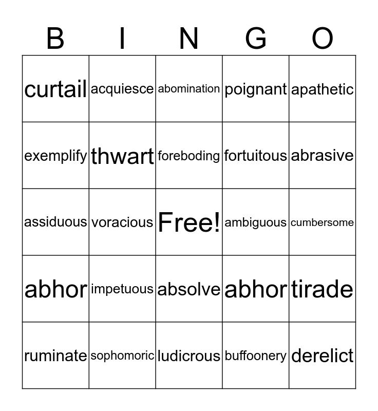 SAT/ACT Vocab Review Bingo Card
