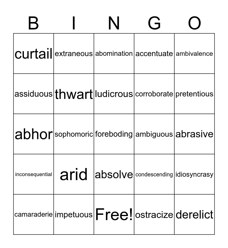 SAT/ACT Vocab Review Bingo Card