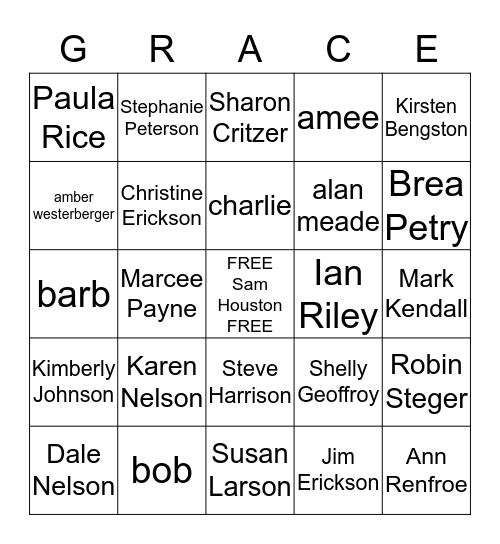 Grace Bingo! Bingo Card