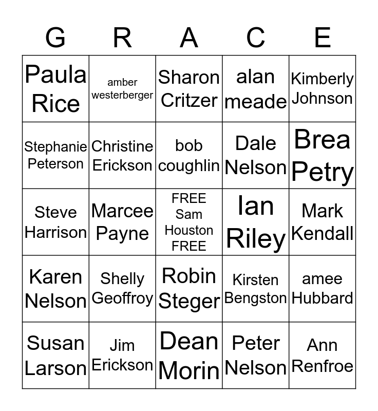 Grace Bingo! Bingo Card
