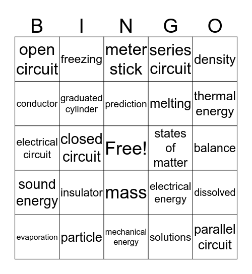 Science Vocab CBA 1 Bingo Card