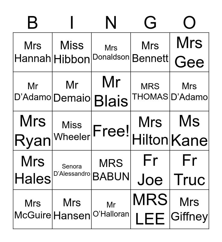 Year 6 BINGOne 2017 Bingo Card