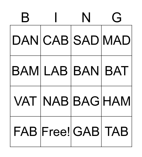 b bingo Card