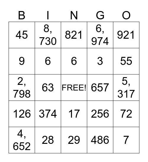 Number Bingo Card