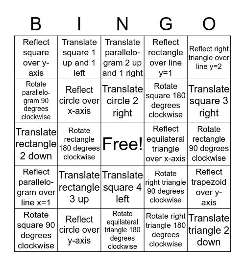 Transformation Bingo!  Bingo Card
