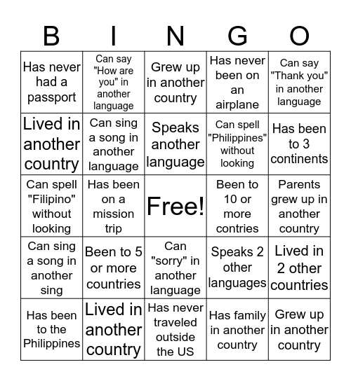 Mission Trip Bingo! (No repeat signatures) Good luck, have fun! Bingo Card