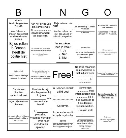 Herhaling woordenschat tot p. 34 Bingo Card