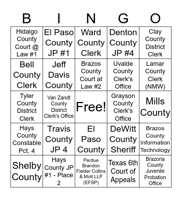 eSolutions Texas Customers Bingo Card