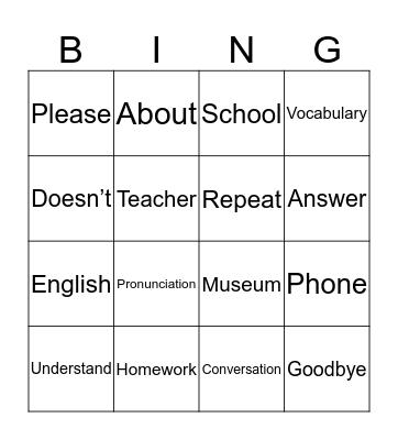 Syllables Review Bingo Card