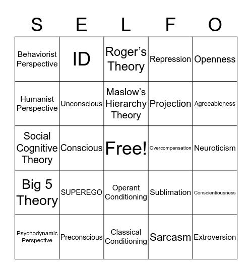 Selfo  Bingo Card
