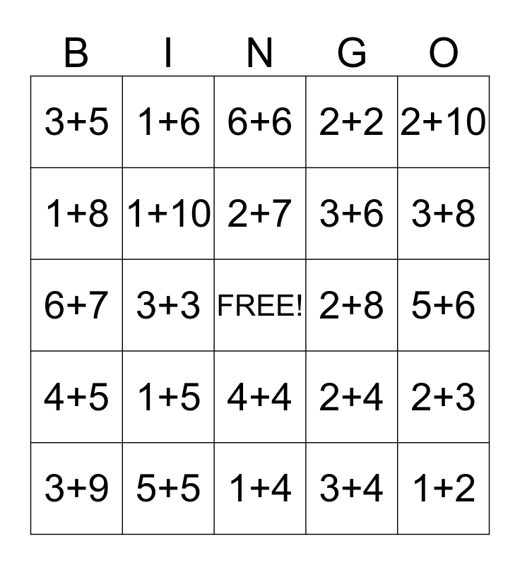 Addition Bingo 1-15 Bingo Card